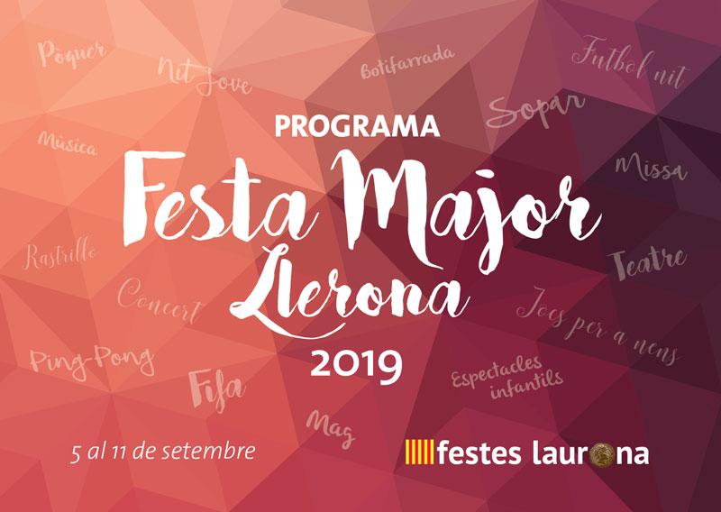 Portada Programa Festa Major Llerona 2019